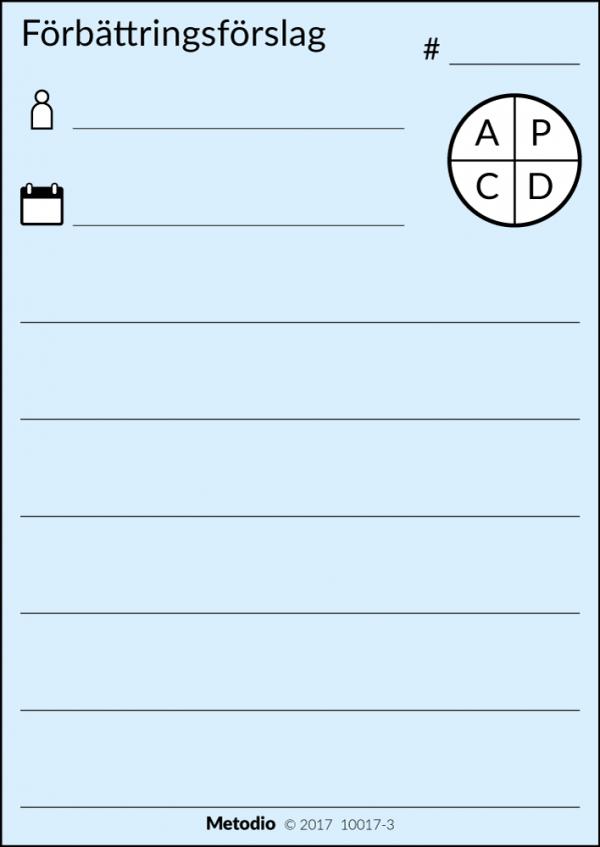 Förbättringsförslag, skriv på magnetisk lapp och återanvänd istället för att använda post-it