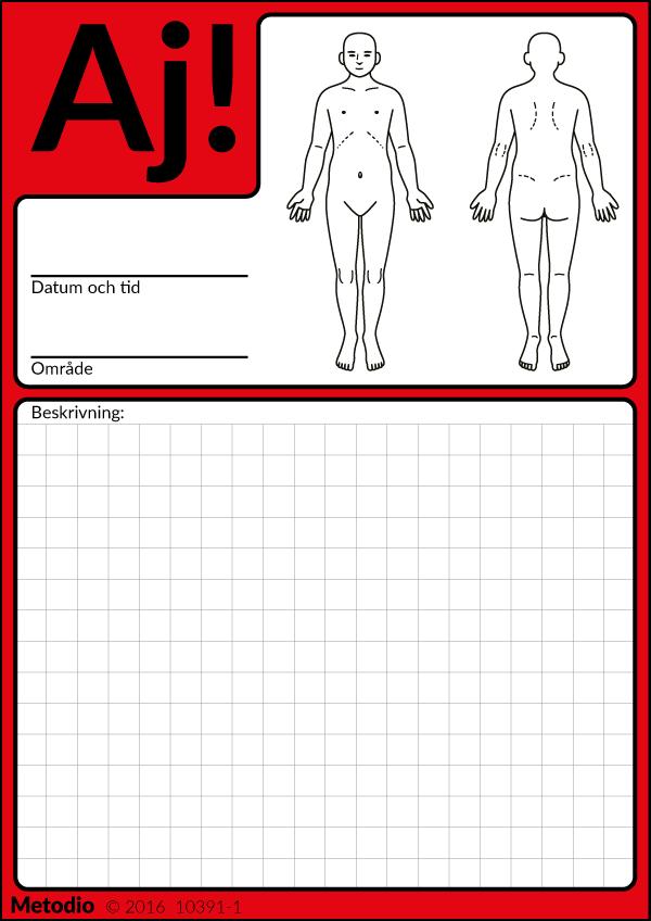 Aj-kort för registrering av olycka med personskada, eller vårdskada