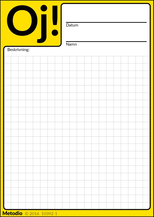 Oj-kort för registrering av tillbud och säkerhetsrisker