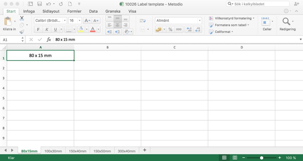 Excel-mall för magnetiska etiketthållare