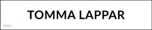 """Magnetisk rubrik med texten """"Tomma Lappar"""""""