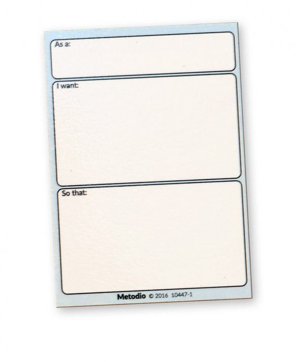 Agile User Story magnetic note, As a User, I want, So that