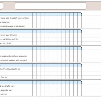 Lean 5S checklista för uppföljning/audit av ordning och reda
