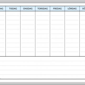 Whiteboard planeringstavla för veckoplanering, t.ex. hemma för en familjs vecka