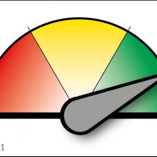 Liten grön-gul-röd mätare med magnetisk visare
