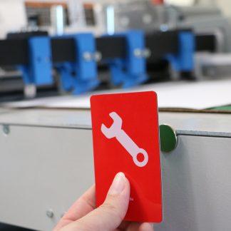 Grönt/Rött vändbart plastkort