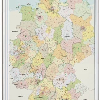 postnummerkarta Tyskland, postal code map Germany whiteboard