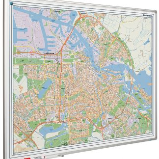 City map Amsterdam printed on whiteboard, Amsterdam stadskarta tryckt på whiteboard