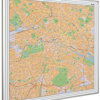 stadskarta Berlin på whiteboard, Berlin city map on whiteboard