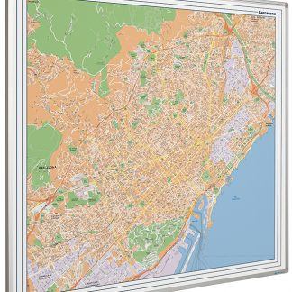Stadskarta Barcelona tryckt på whiteboard med emaljerad yta 120x90cm, Barcelona city map on whiteboard