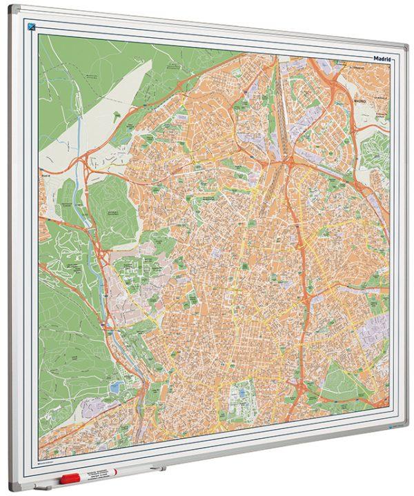 Stadskarta Madrid tryckt på whiteboard med emaljerad yta 120x90cm, Madrid city map on whiteboard