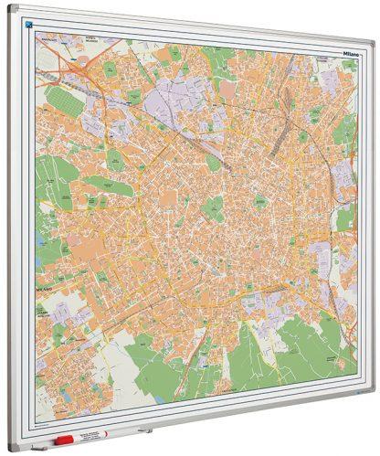 Stadskarta Milan tryckt på whiteboard med emaljerad yta 110x110cm, Milan city map on whiteboard