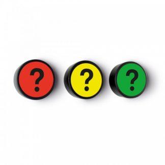 Frågetecken grön, set om 5 stycken, Ø 35 mm