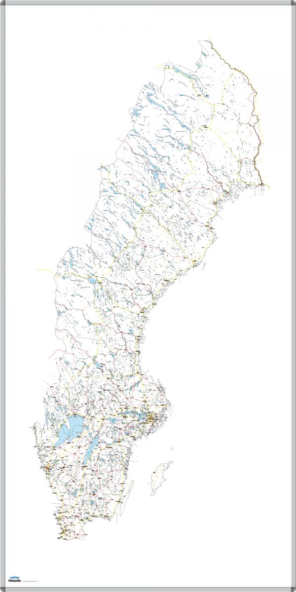 Whiteboardtavla med Sverigekarta, magnetisk och skrivbar med whiteboardpennor